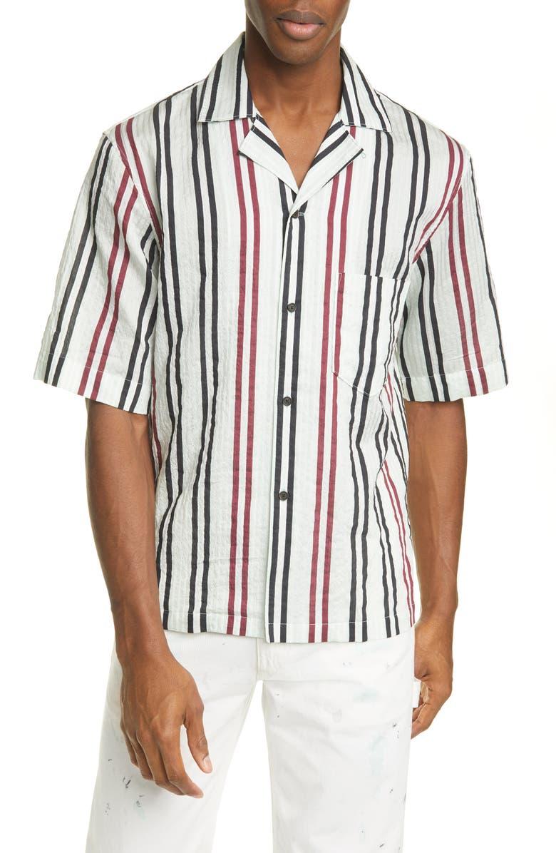 ACNE STUDIOS Simon Stripe Short Sleeve Button-Up Camp Shirt, Main, color, PASTEL GREEN/BURGUNDY