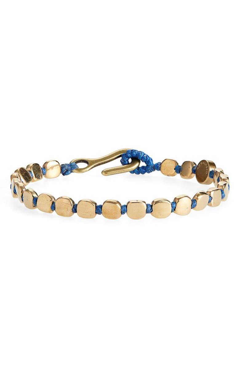 CAPUTO & CO. Brass Bead Bracelet, Main, color, NAVY