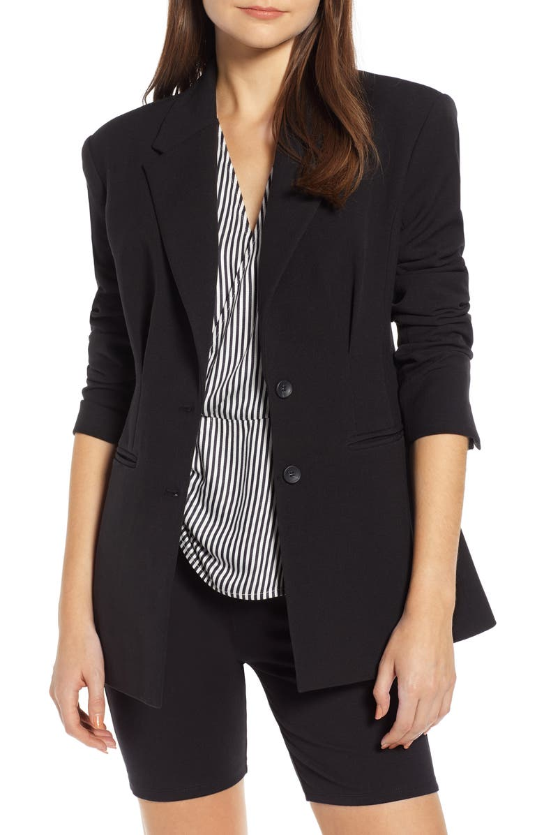 SOMETHING NAVY Waist Emphasis Blazer, Main, color, 001