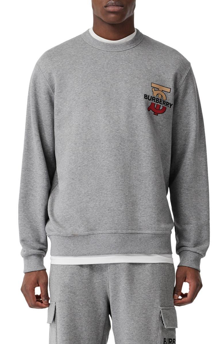 BURBERRY Coldwell Graphic Sweatshirt, Main, color, PALE GREY MELANGE
