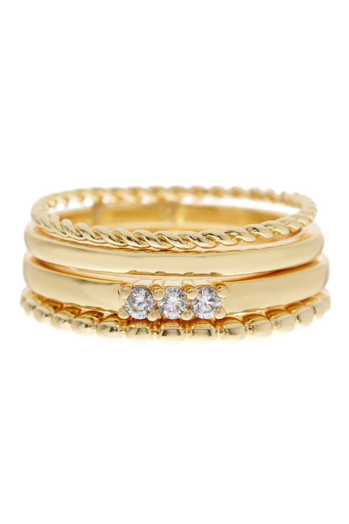 Image of Sterling Forever CZ Rope Band Stacking Ring Set
