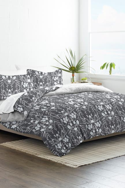 Image of IENJOY HOME Home Collection Premium Ultra Soft Secret Garden Pattern 3-Piece King/California King Reversible Duvet Cover Set - Black