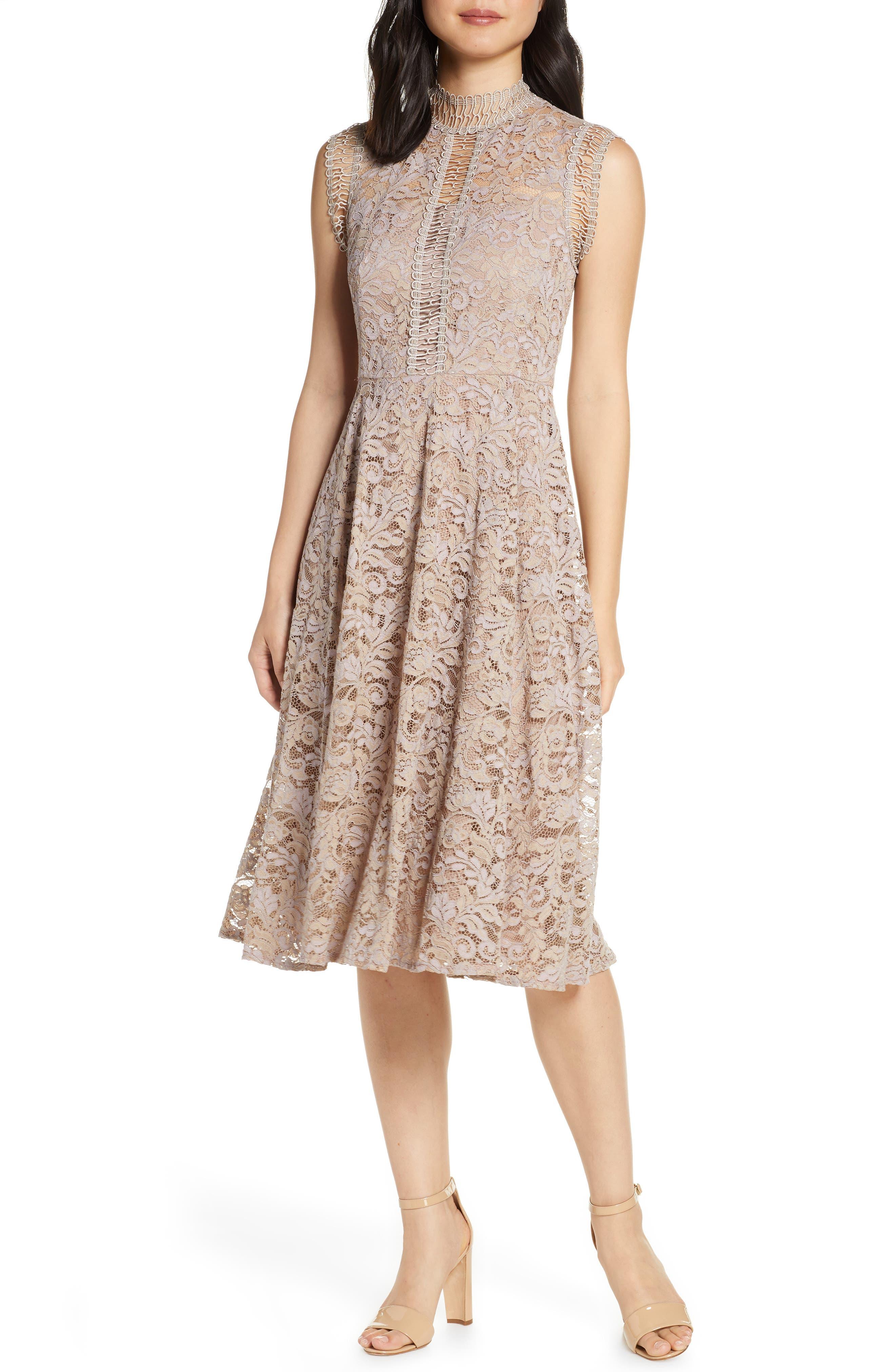 Eliza J High Neck Lace Fit & Flare Dress, Beige