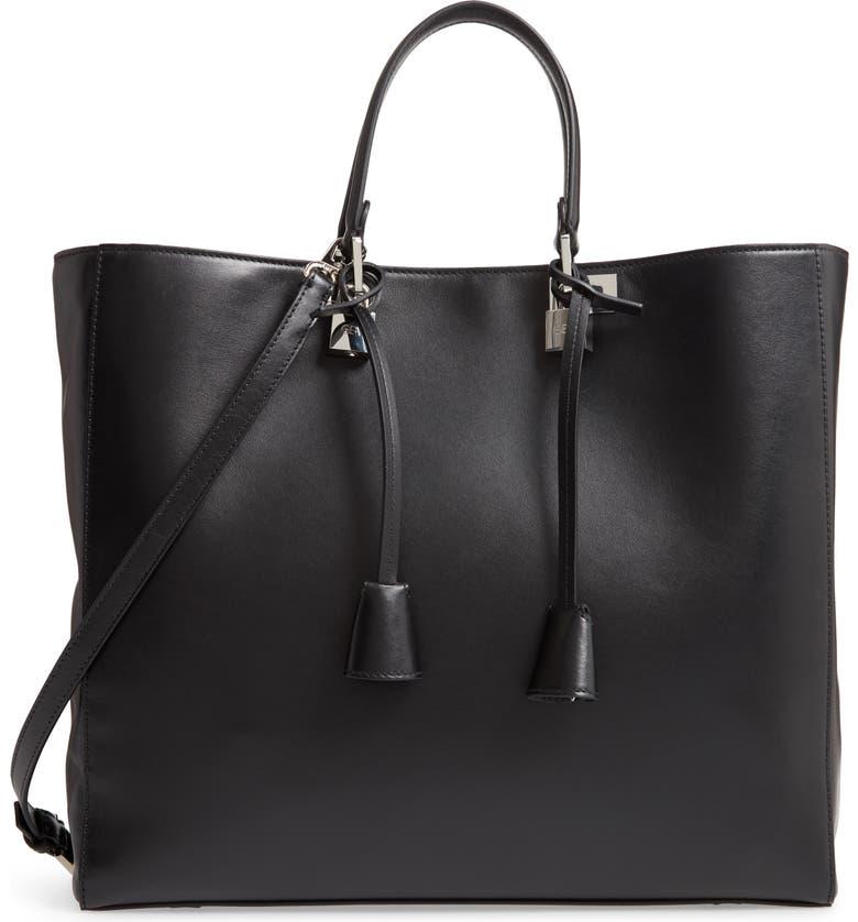 GIAMBATTISTA VALLI Leather Tote, Main, color, BLACK/ NICKEL