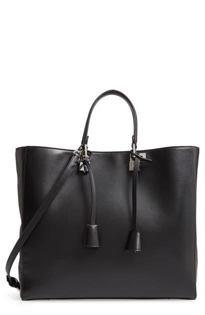 Giambattista Valli Leather Tote In Black/ Nickel