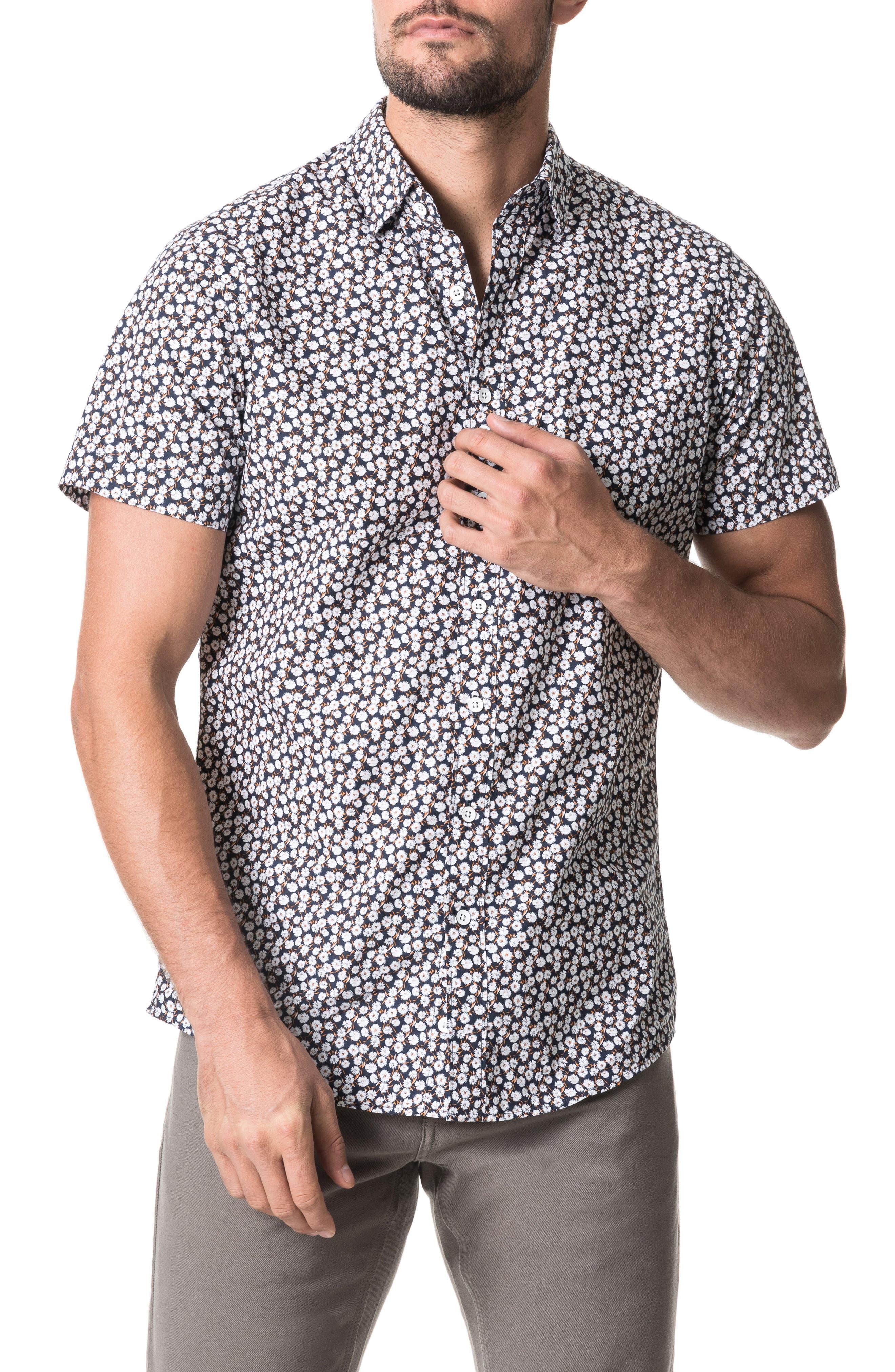 Image of RODD AND GUNN Midnight Daisy Print Short Sleeve Button-Up Shirt