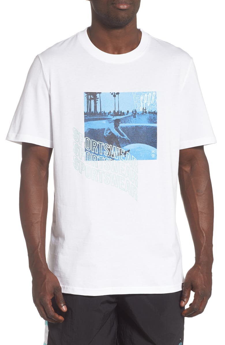 PUMA Downtown Graphic Beach T-Shirt, Main, color, PUMA WHITE