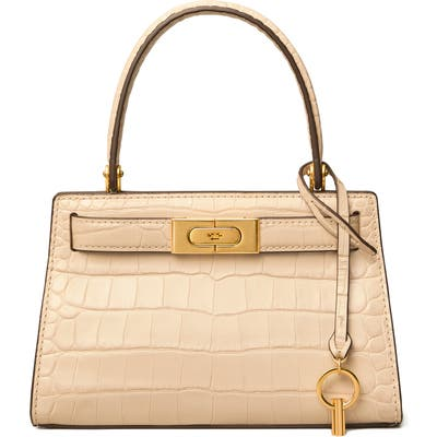 Tory Burch Lee Radziwill Croc Embossed Leather Tote - Beige