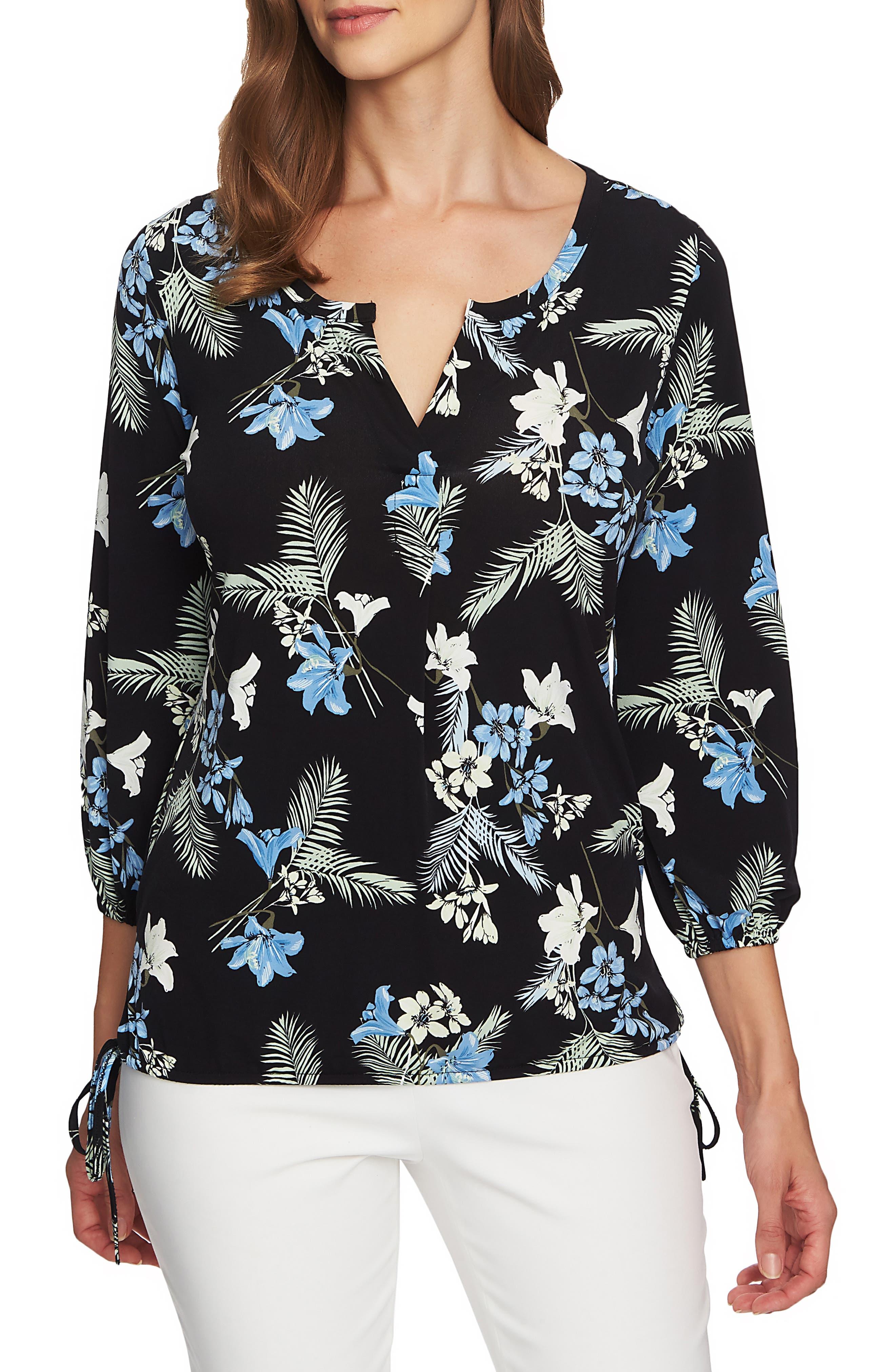 Tropical Oasis Side Tie Top, Main, color, RICH BLACK