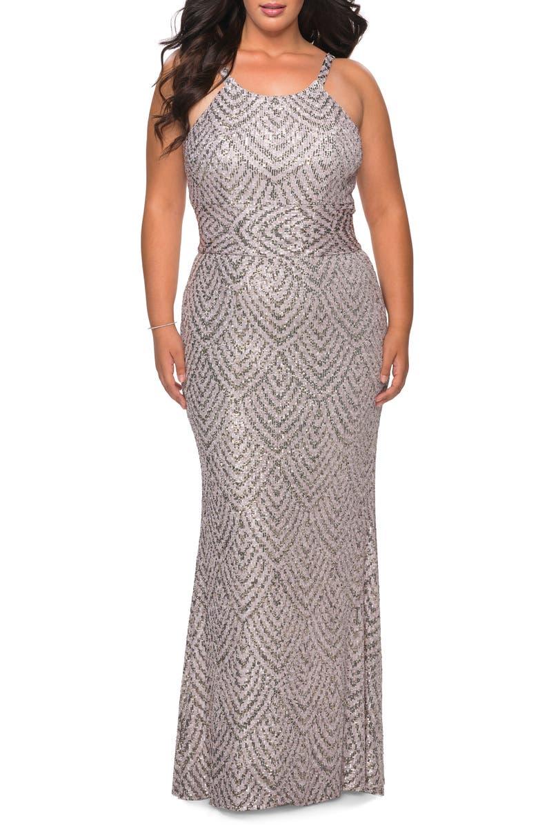 LA FEMME Sequin Pattern Trumpet Gown, Main, color, MAUVE