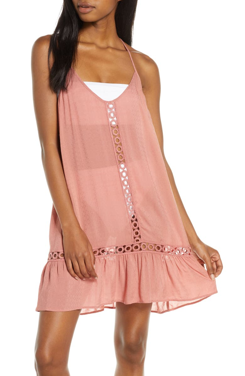 CHELSEA28 Emilee Tassel Cover-Up Dress, Main, color, PINK BRICK