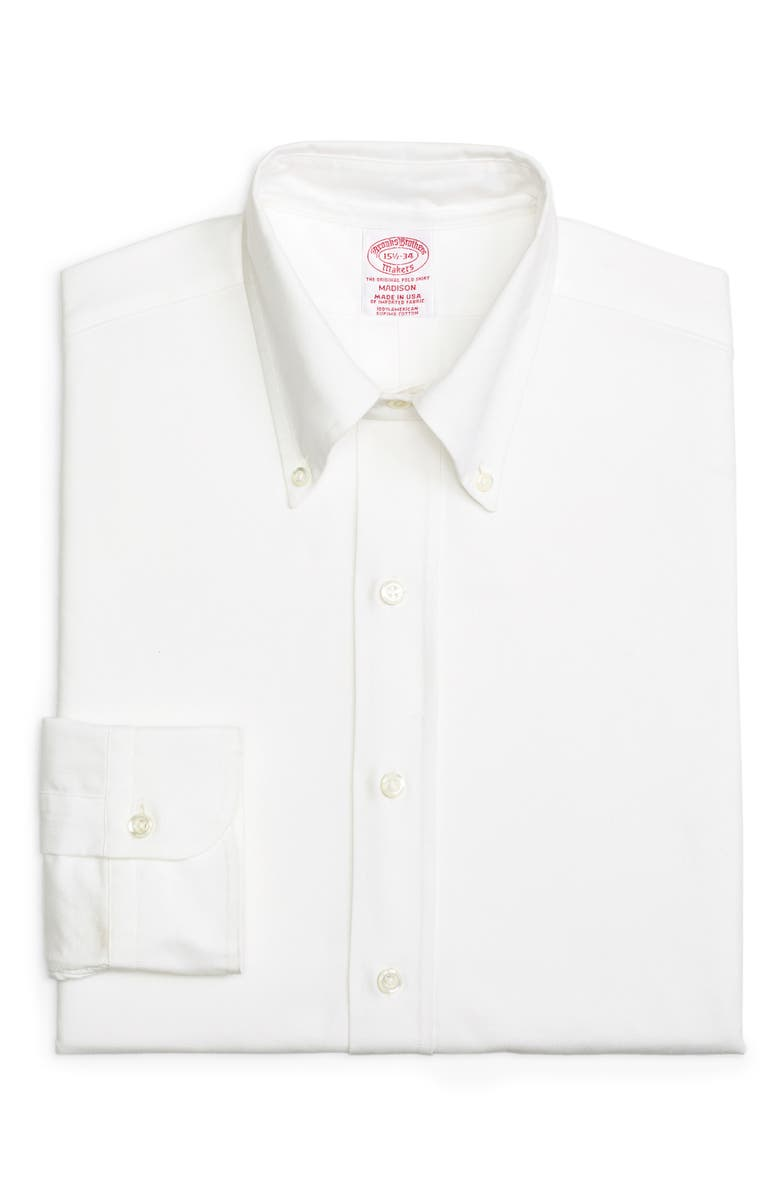 BROOKS BROTHERS Madison Classic Fit Solid Dress Shirt, Main, color, SOLID WHT