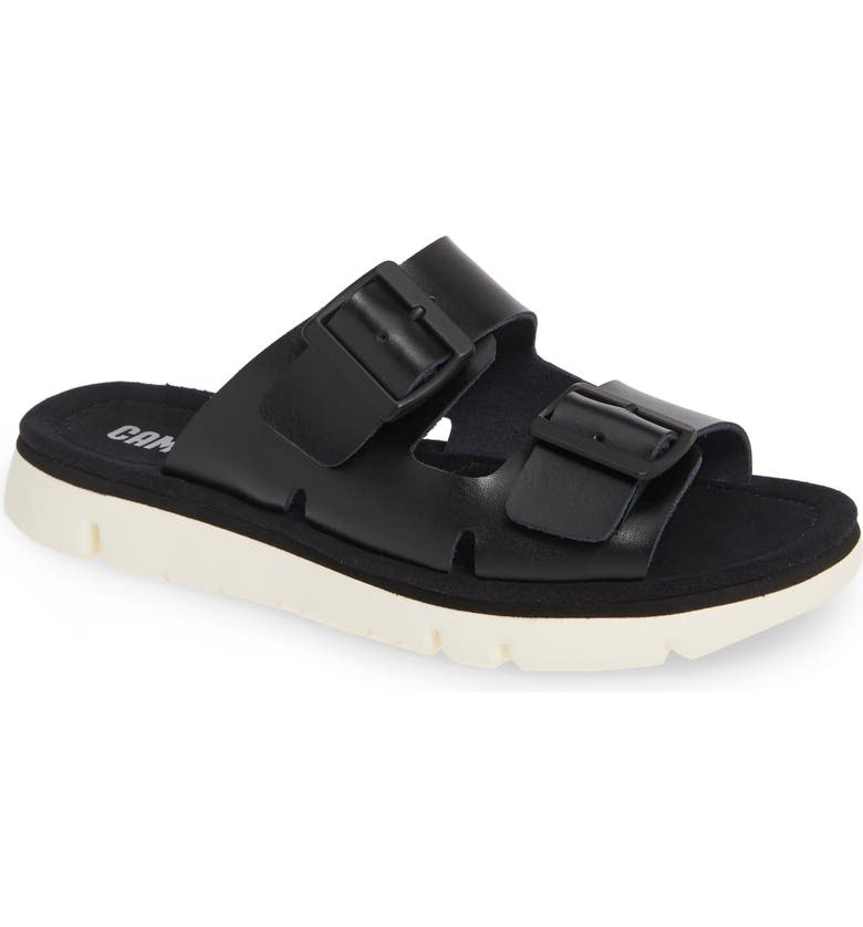 CAMPER Oruga Slide Sandal, Main, color, BLACK LEATHER