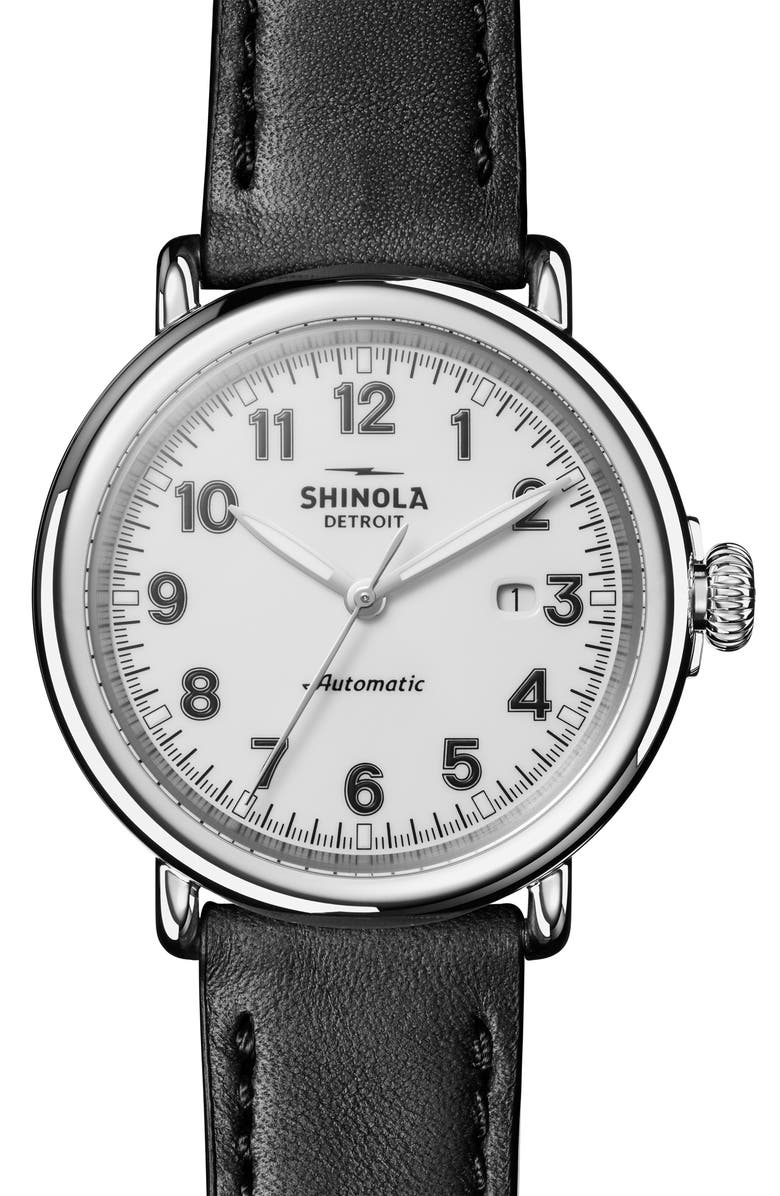 SHINOLA Runwell Automatic Leather Strap Watch, 45mm, Main, color, BLACK/ WHITE/ SILVER