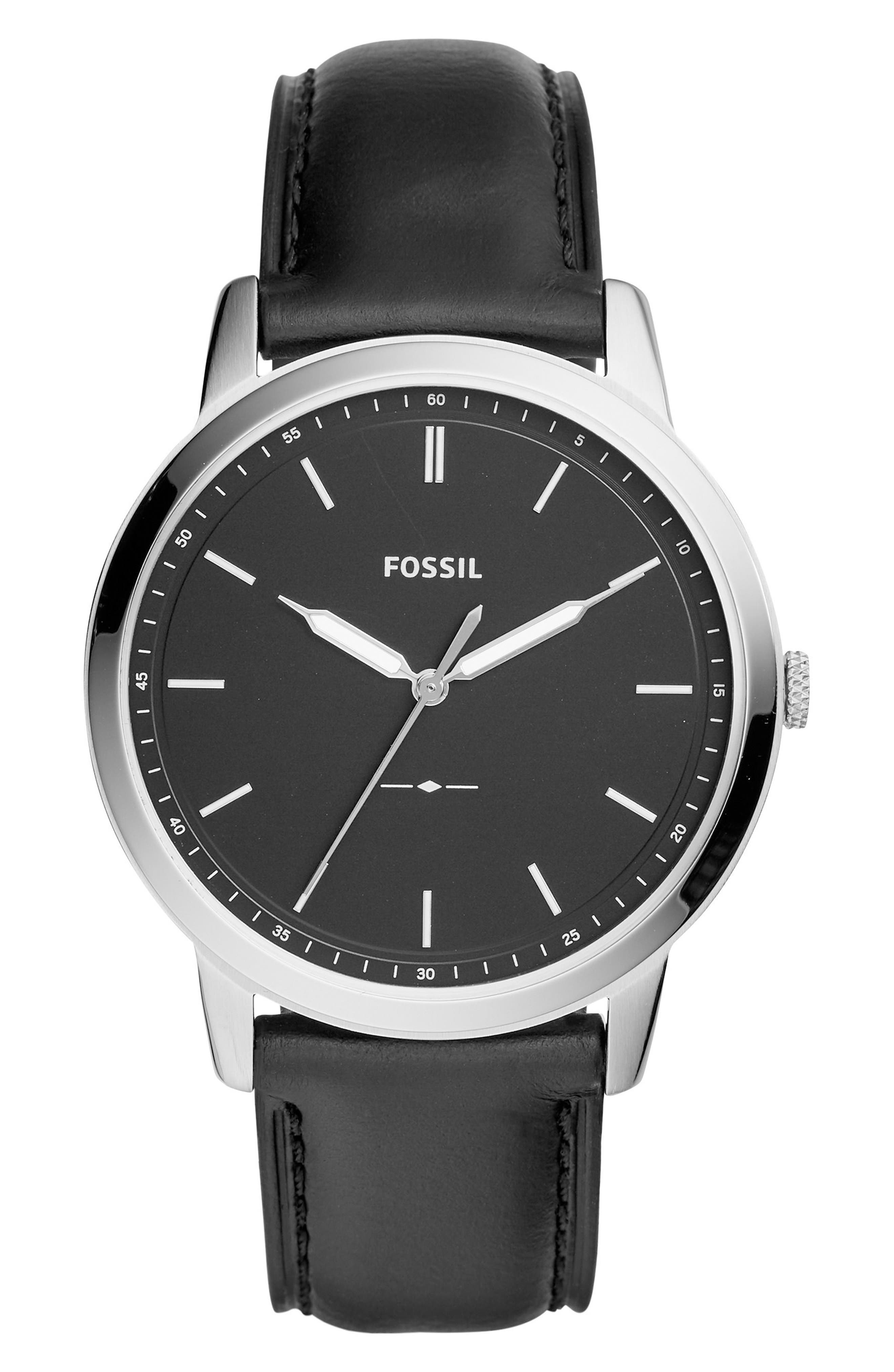 ,                             The Minimalist Leather Strap Watch, 44mm,                             Main thumbnail 1, color,                             BLACK/ SILVER