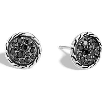 John Hardy Pave Button Earrings