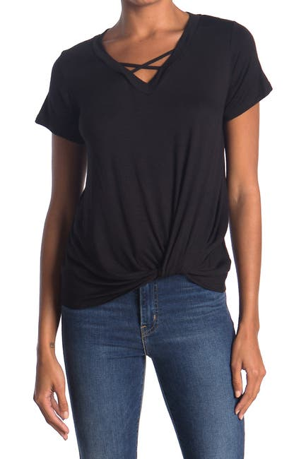 Image of Bobeau Short Sleeve Crisscross Twist Front T-Shirt