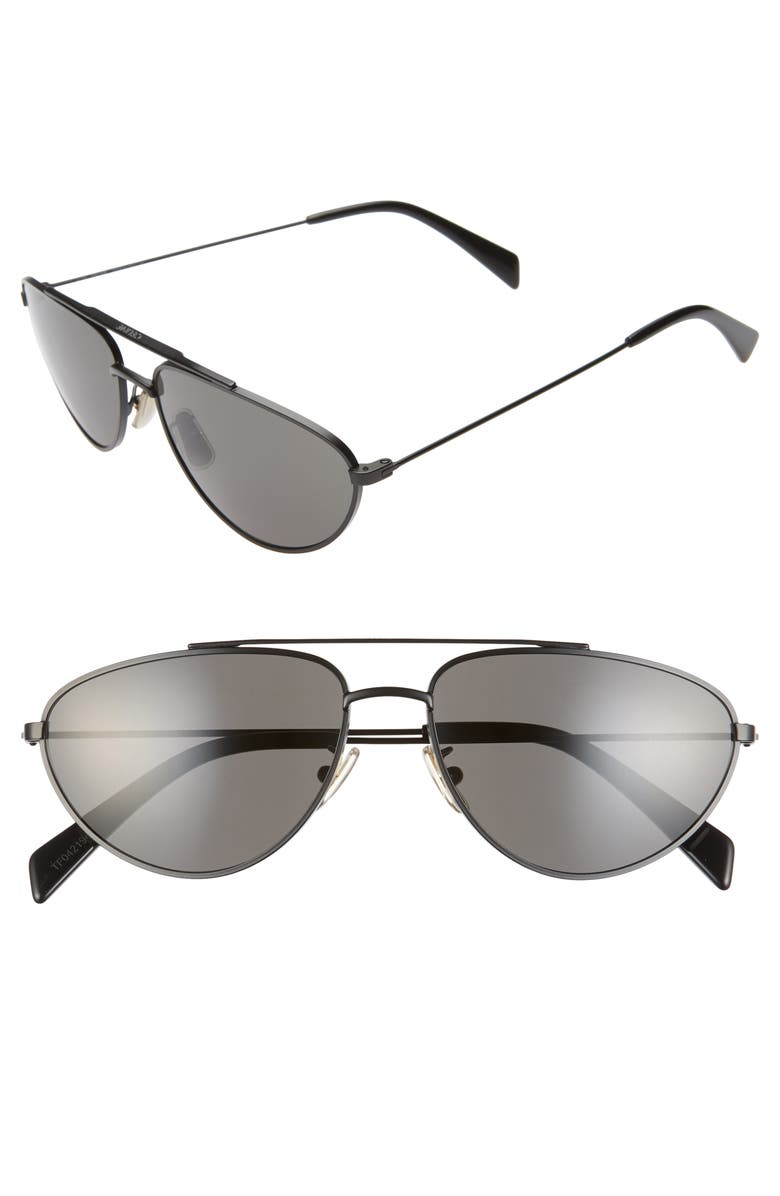 CELINE 59mm Aviator Sunglasses, Main, color, MATTE BLACK