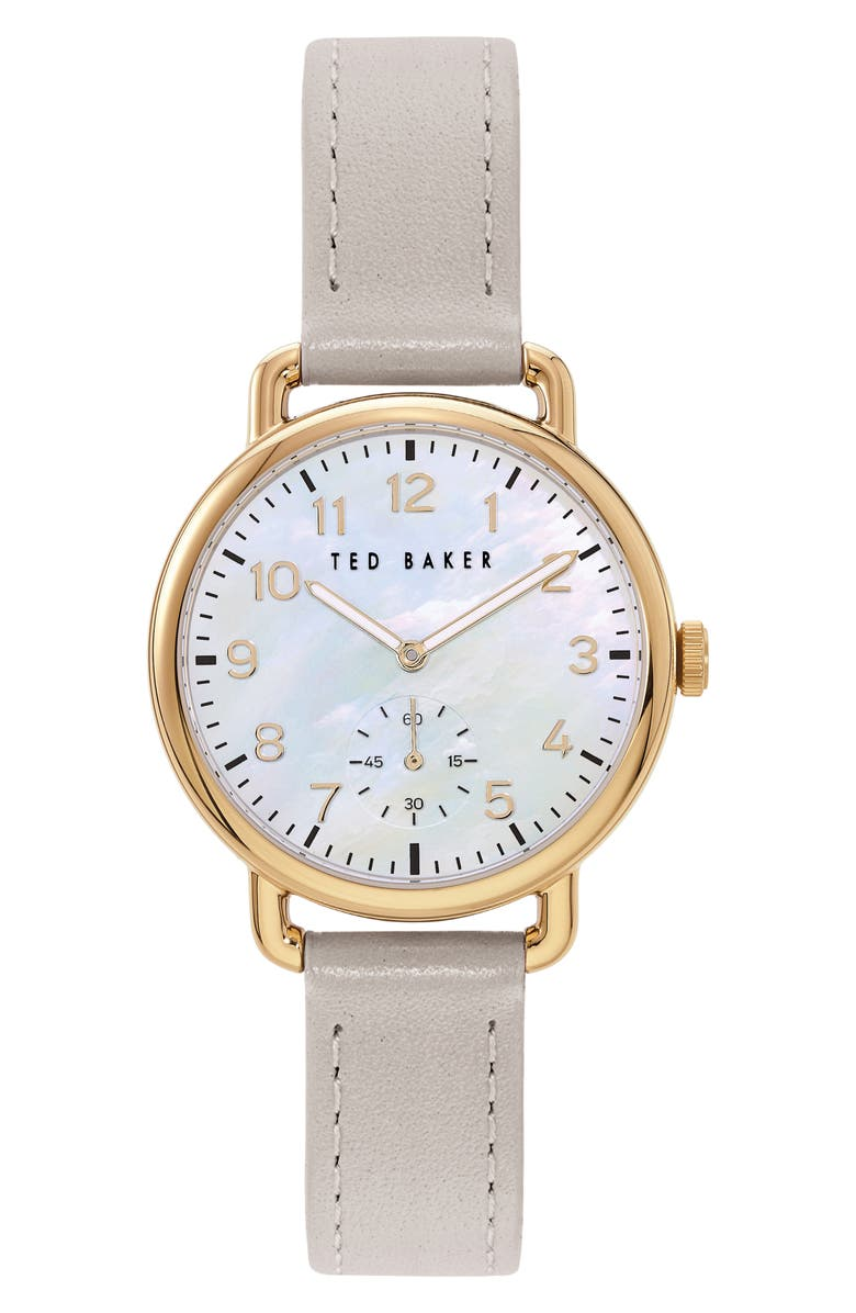 TED BAKER LONDON Hannahh Sub-Eye Leather Strap Watch, 34mm, Main, color, GREY/ MOP/ GOLD