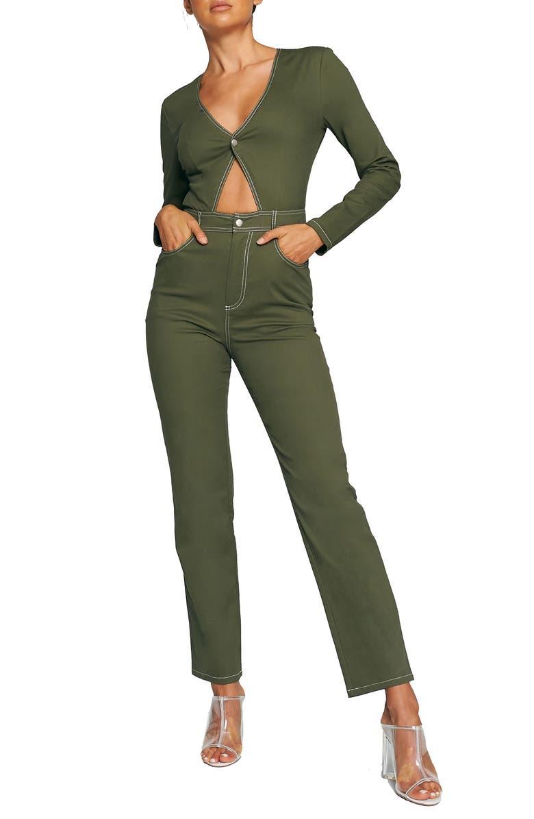 TIGER MIST Serena Jumpsuit, Main, color, KHAKI