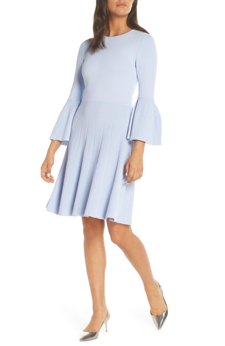 ELIZA J Fit & Flare Sweater Dress, Main, color, 421