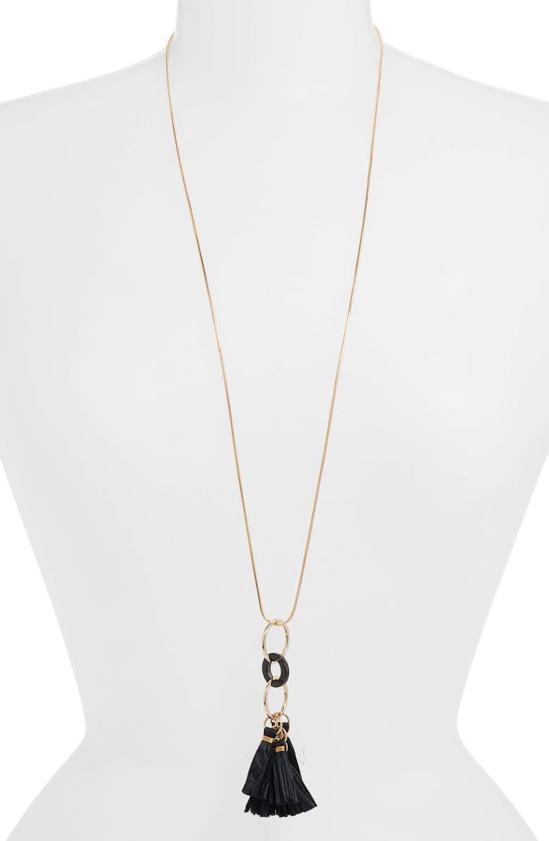 AKOLA Tassel Pendant Necklace, Main, color, BLACK