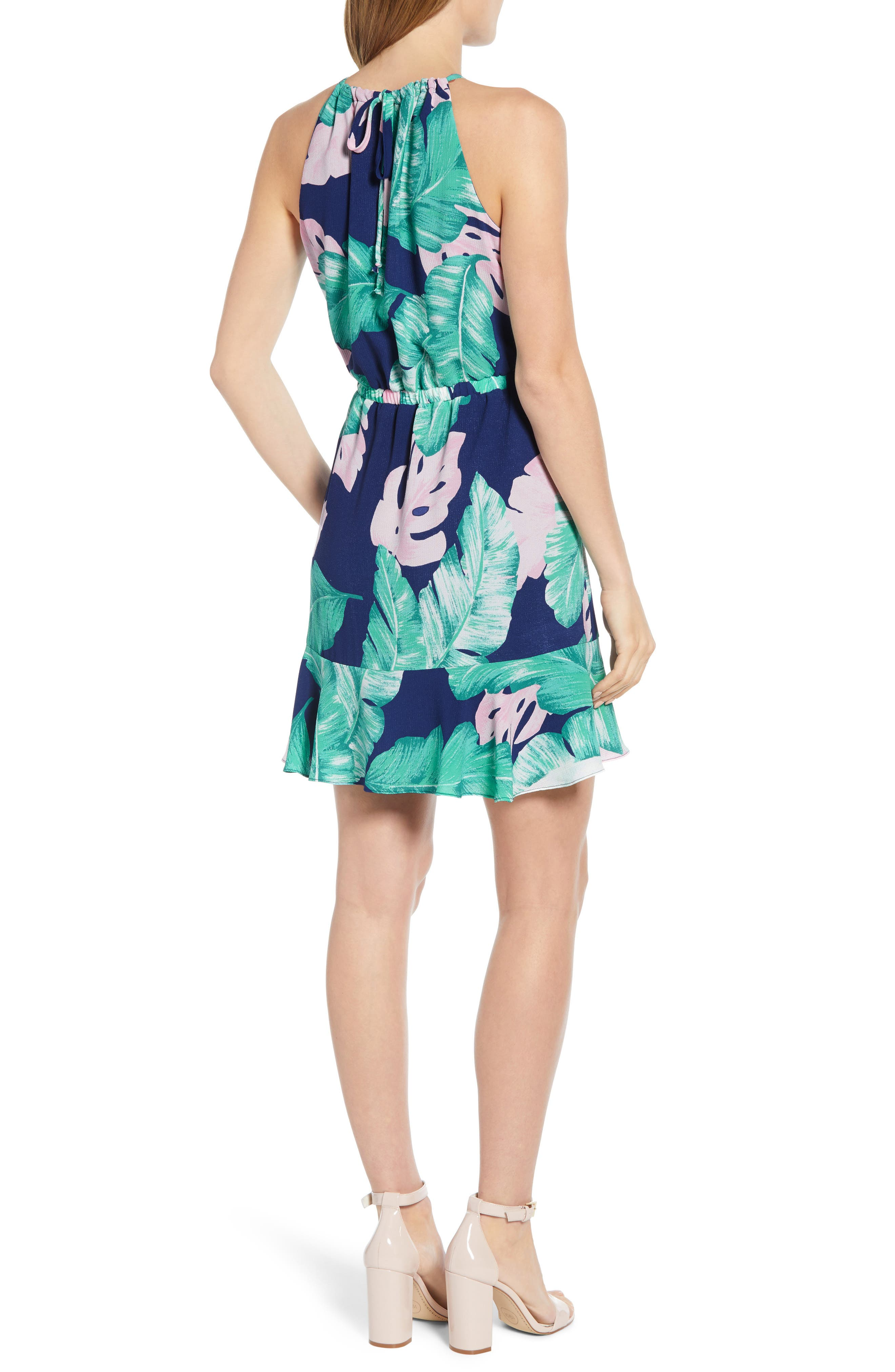 ,                             x Living in Yellow Calla Keyhole Halter Neck Dress,                             Alternate thumbnail 2, color,                             EXOTIC PALM