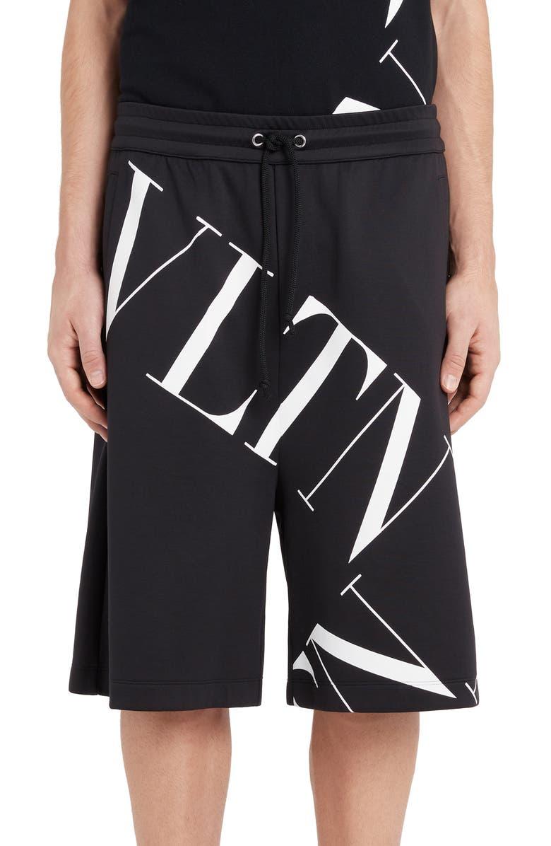 VALENTINO VLTN Logo Jersey Shorts, Main, color, BLACK/ WHITE