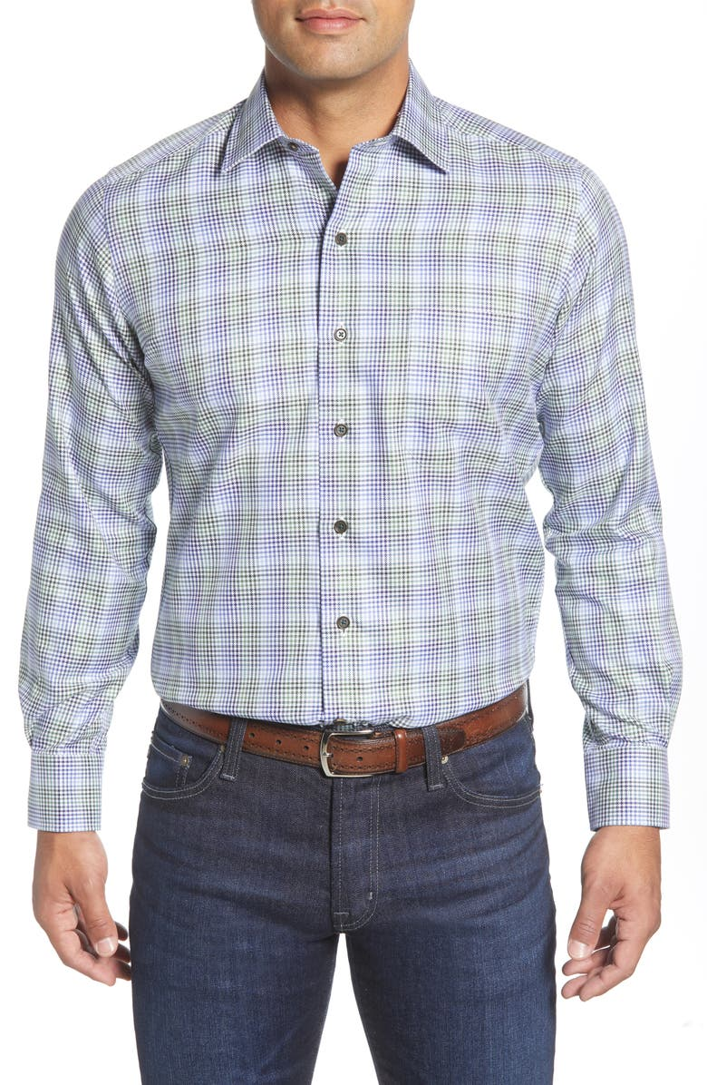 DAVID DONAHUE Regular Fit Plaid Button-Up Shirt, Main, color, FOREST