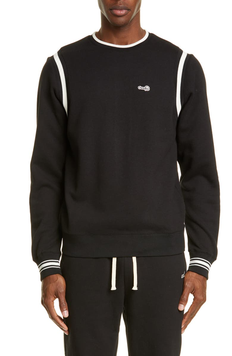 OVADIA & SONS Varsity Crewneck Sweatshirt, Main, color, BLACK/ CREAM