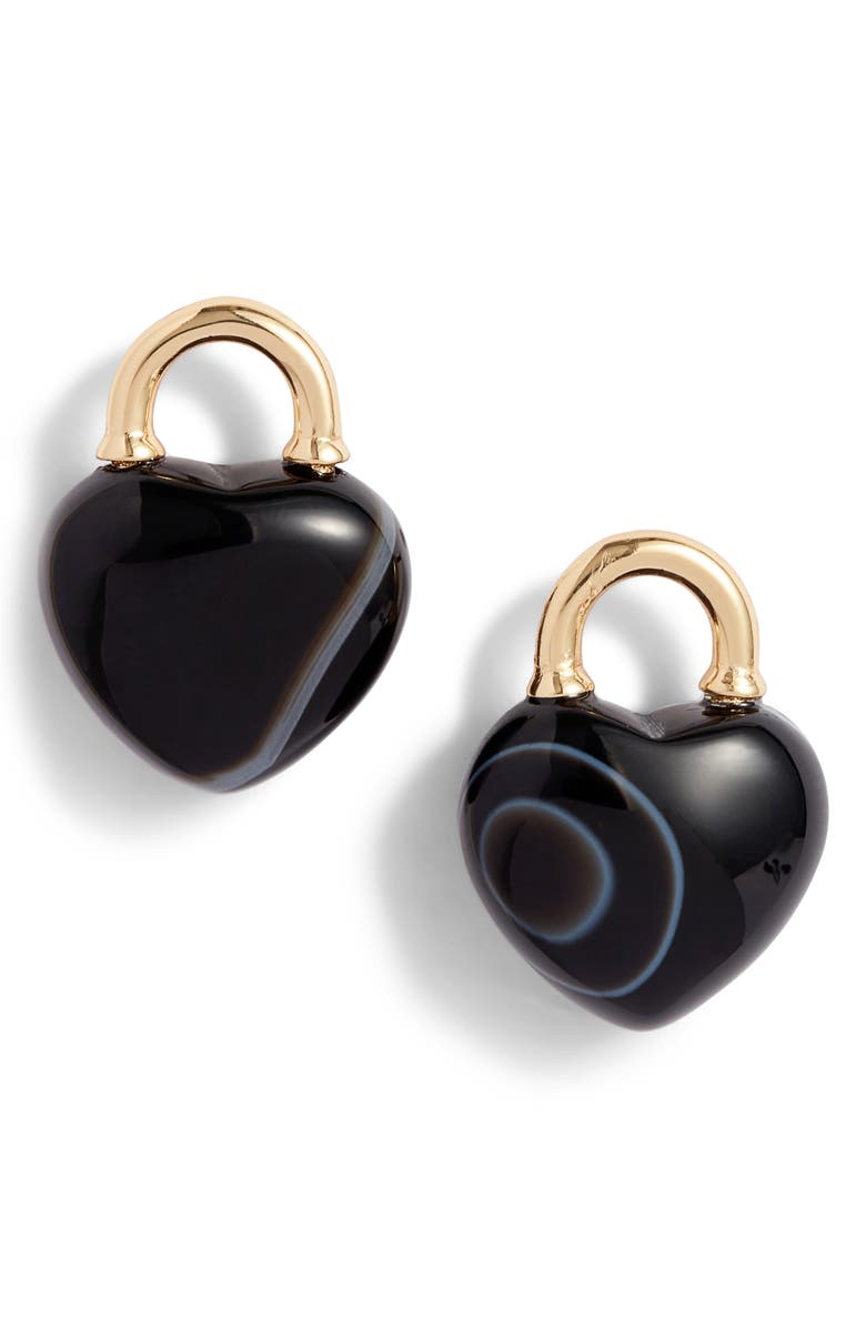 KATE SPADE NEW YORK stone lock stud earrings, Main, color, BLACK