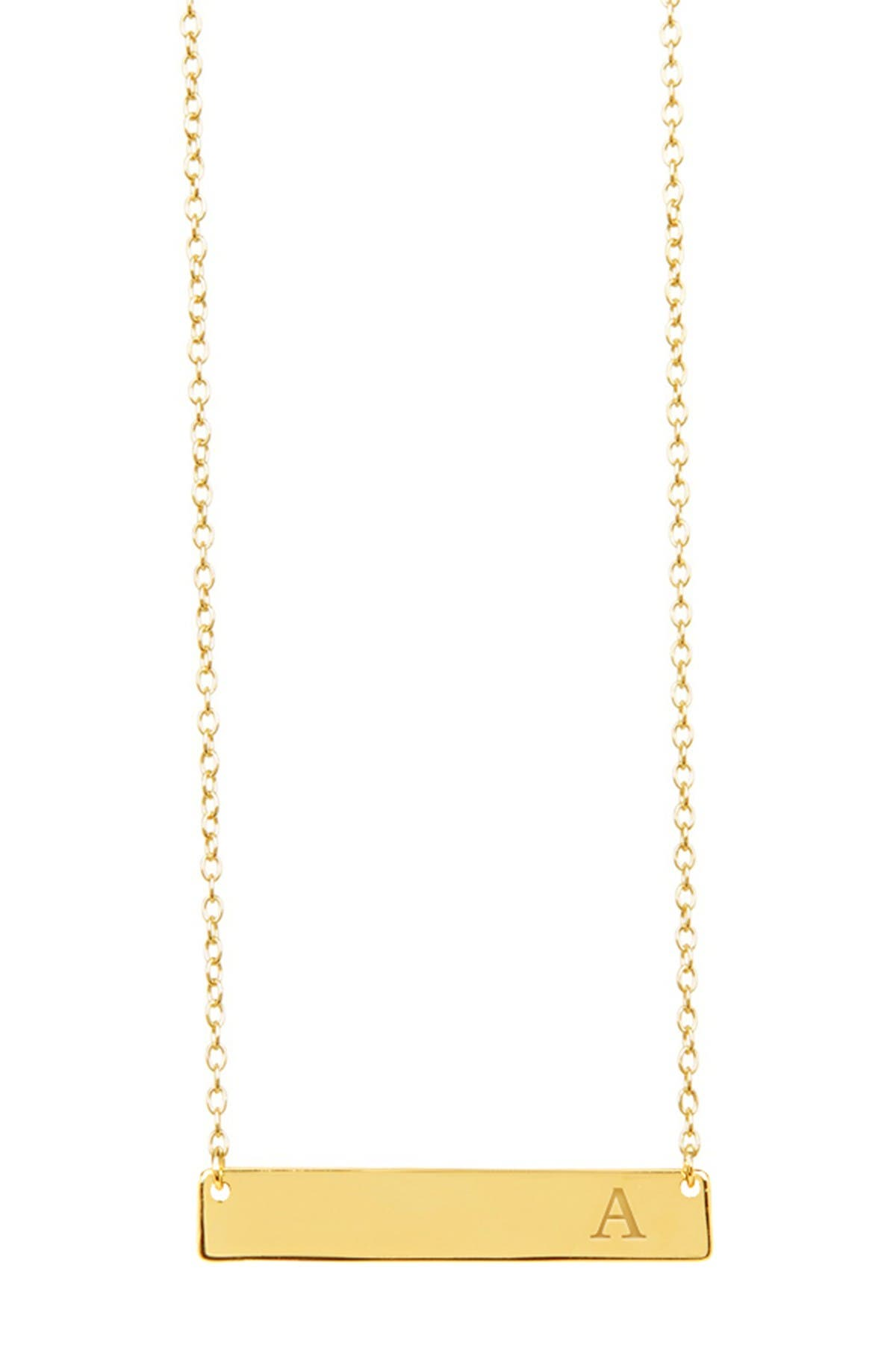 Image of Sterling Forever 14K Yellow Gold Vermeil Bar Initial Necklace - Multiple Letters Available