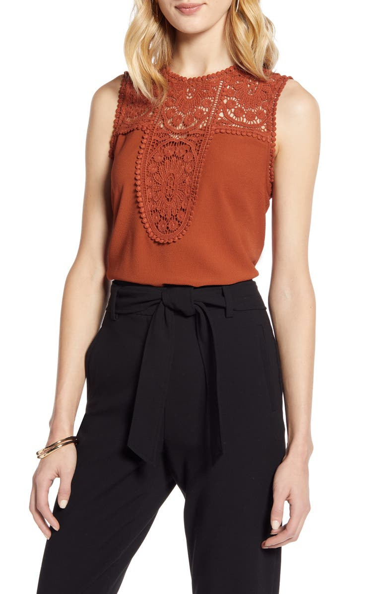 HALOGEN<SUP>®</SUP> Lace & Crepe Top, Main, color, 210