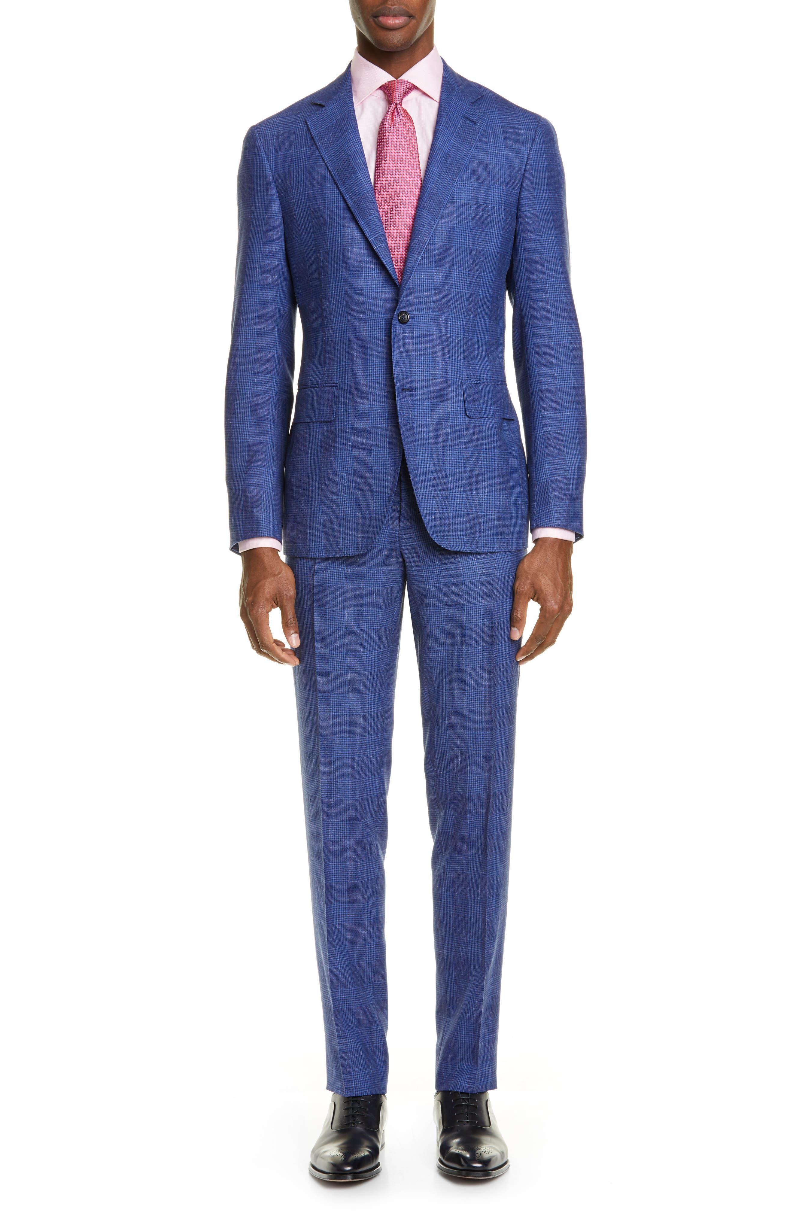 ,                             Kei Trim Fit Plaid Wool Blend Suit,                             Main thumbnail 1, color,                             BRIGHT BLUE