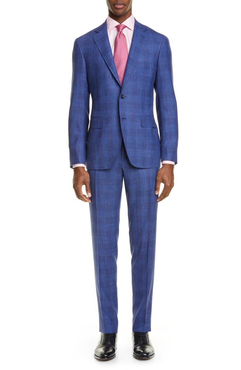 CANALI Kei Trim Fit Plaid Wool Blend Suit, Main, color, 430