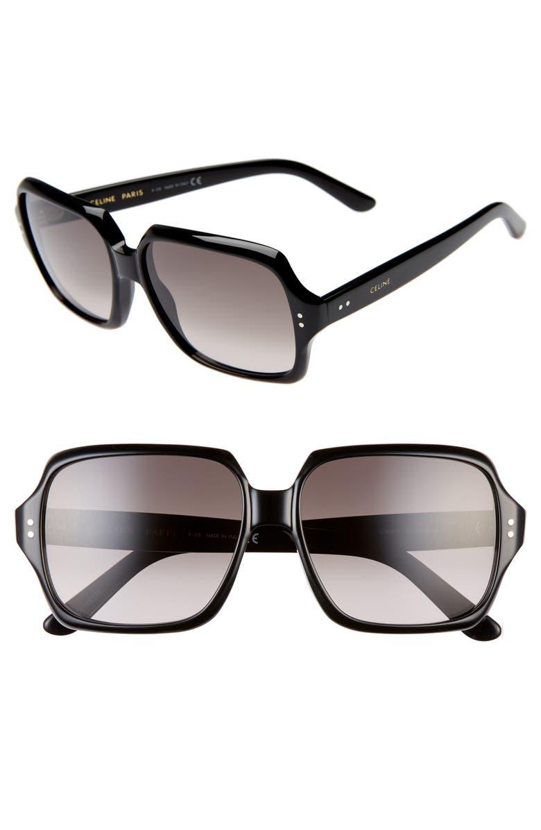CELINE 59mm Oversize Square Sunglasses, Main, color, BLACK/ GRADIENT BROWN