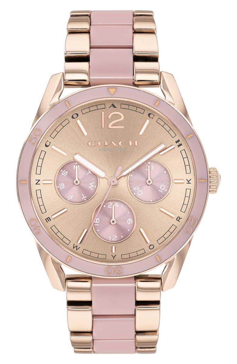 COACH Preston Bracelet Watch, 36mm, Main, color, ROSE GOLD