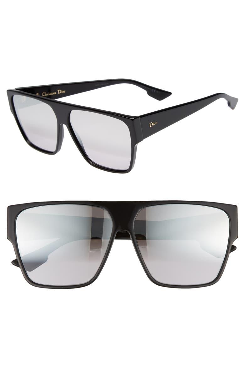 DIOR 62mm Flat Top Square Sunglasses, Main, color, 001