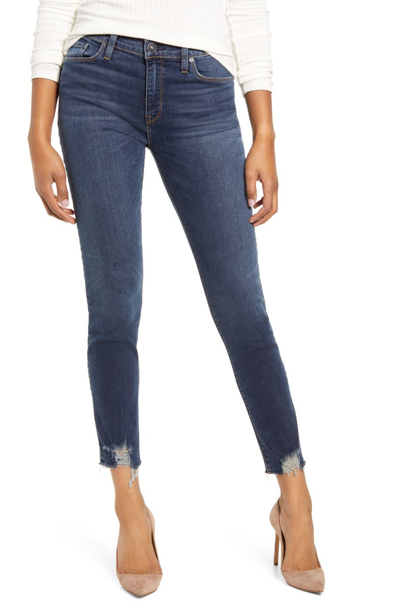 HUDSON JEANS Nico High Waist Chewed Hem Ankle Skinny Jeans, Main, color, GAMBIT