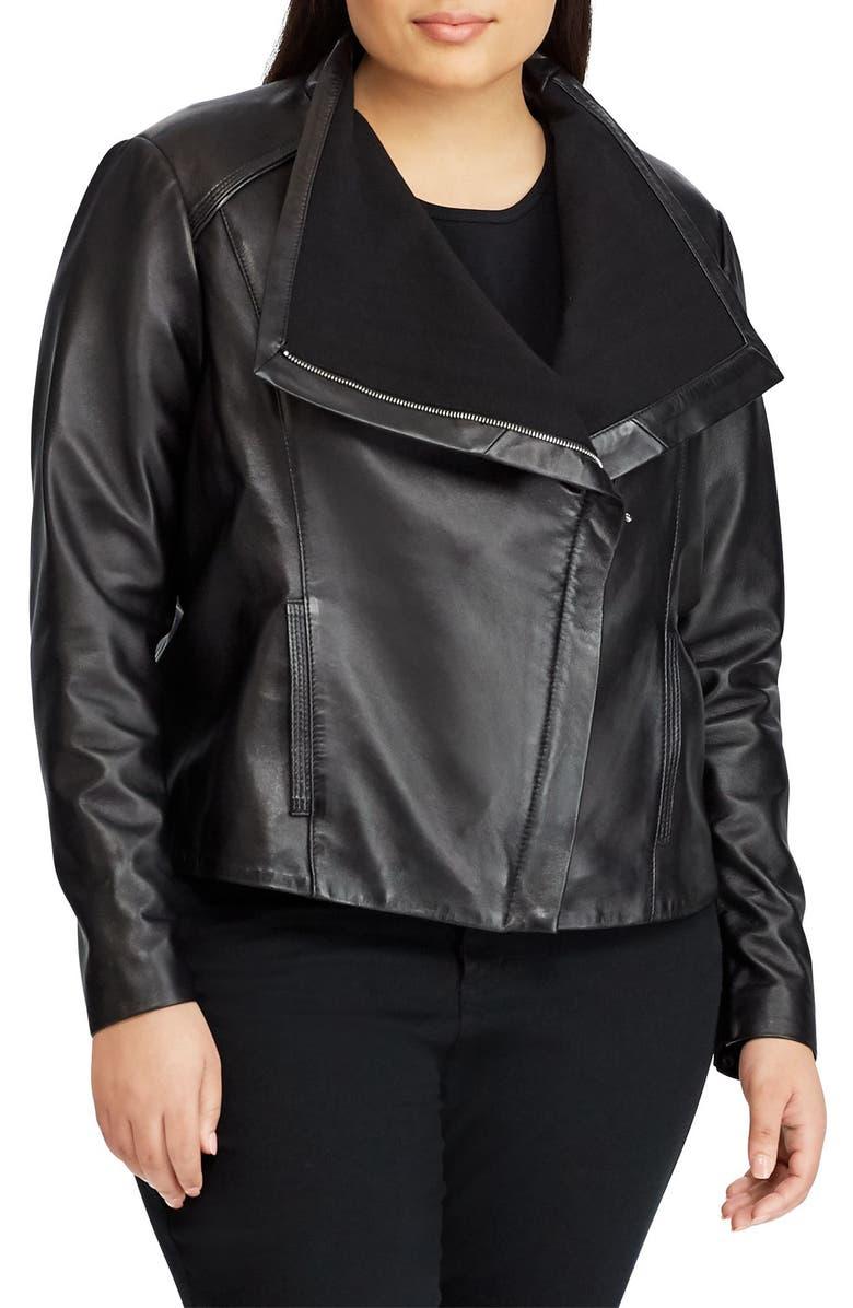 LAUREN RALPH LAUREN Drape Front Leather Jacket, Main, color, 014