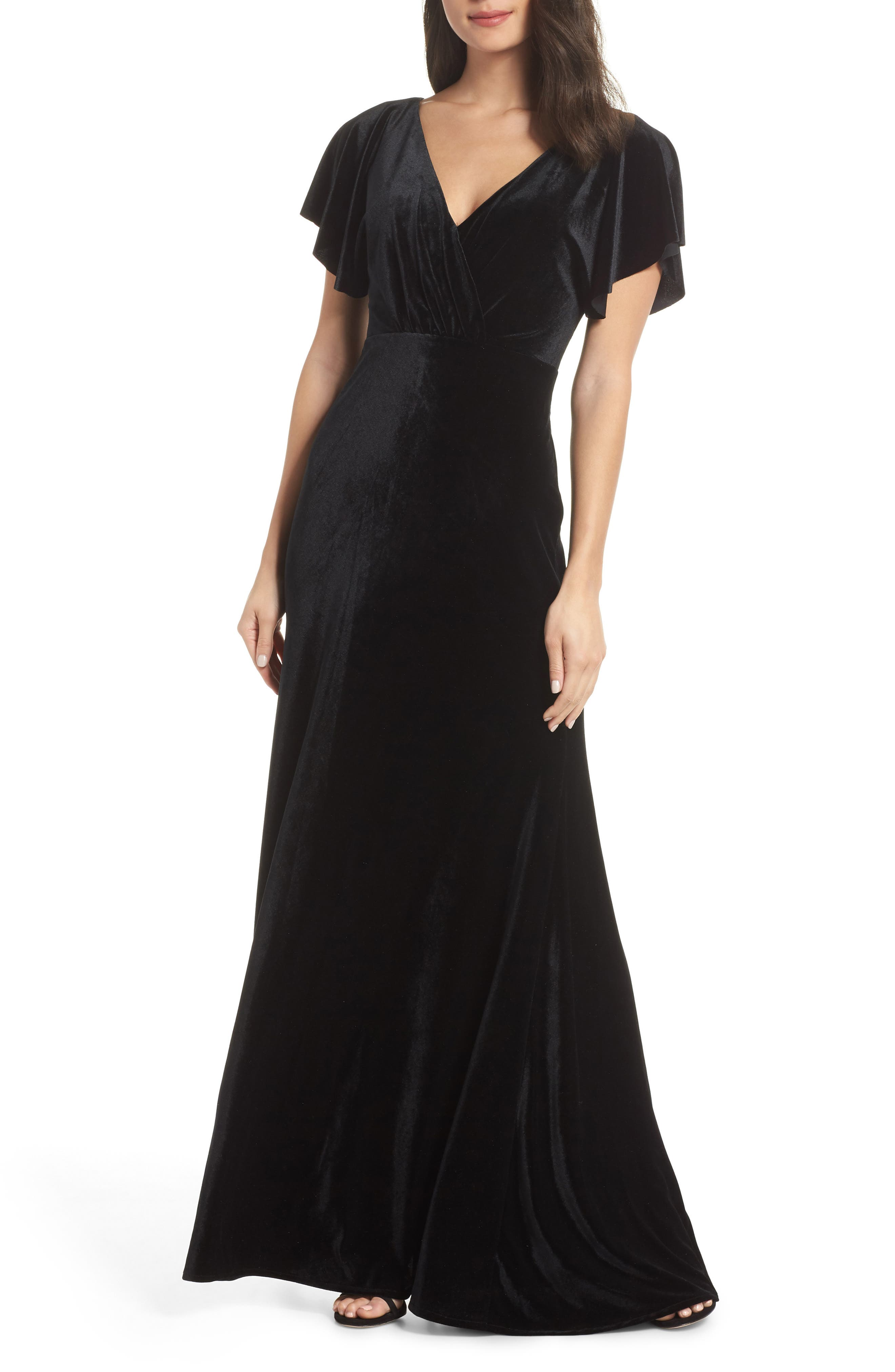 Jenny Yoo Ellis Flutter Sleeve Stretch Velvet Gown, Black