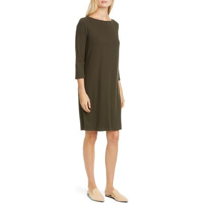 Eileen Fisher Bateau Neck Ribbed Shift Dress, Beige