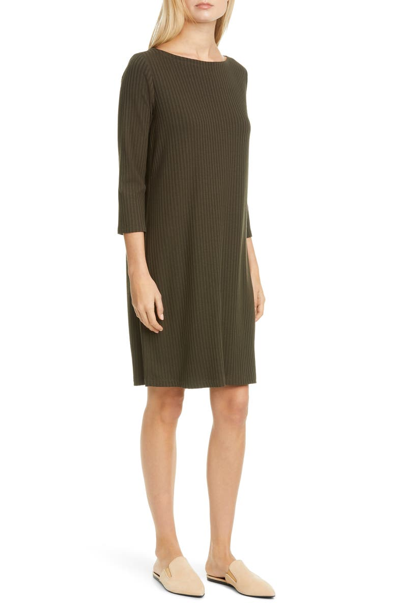 EILEEN FISHER Bateau Neck Ribbed Shift Dress, Main, color, WOODLAND