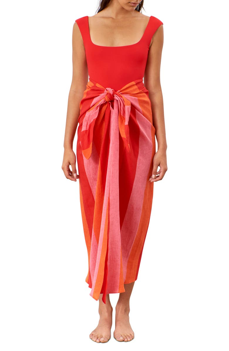 MARA HOFFMAN Izzi Linen Tie Front Cover-Up Skirt, Main, color, RED MULTI