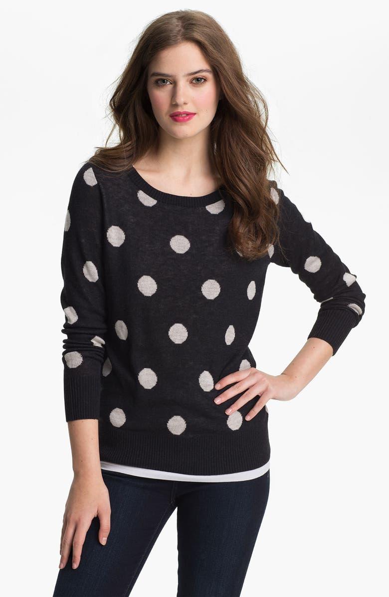 MAX & MIA 'Big Dot' Sweater, Main, color, Black