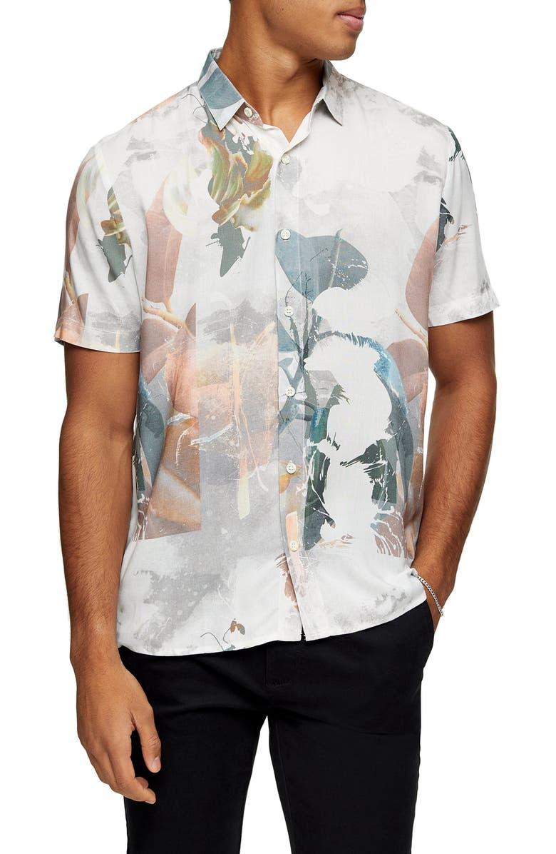 TOPMAN Norsen Watercolor Short Sleeve Button-Up Shirt, Main, color, 020