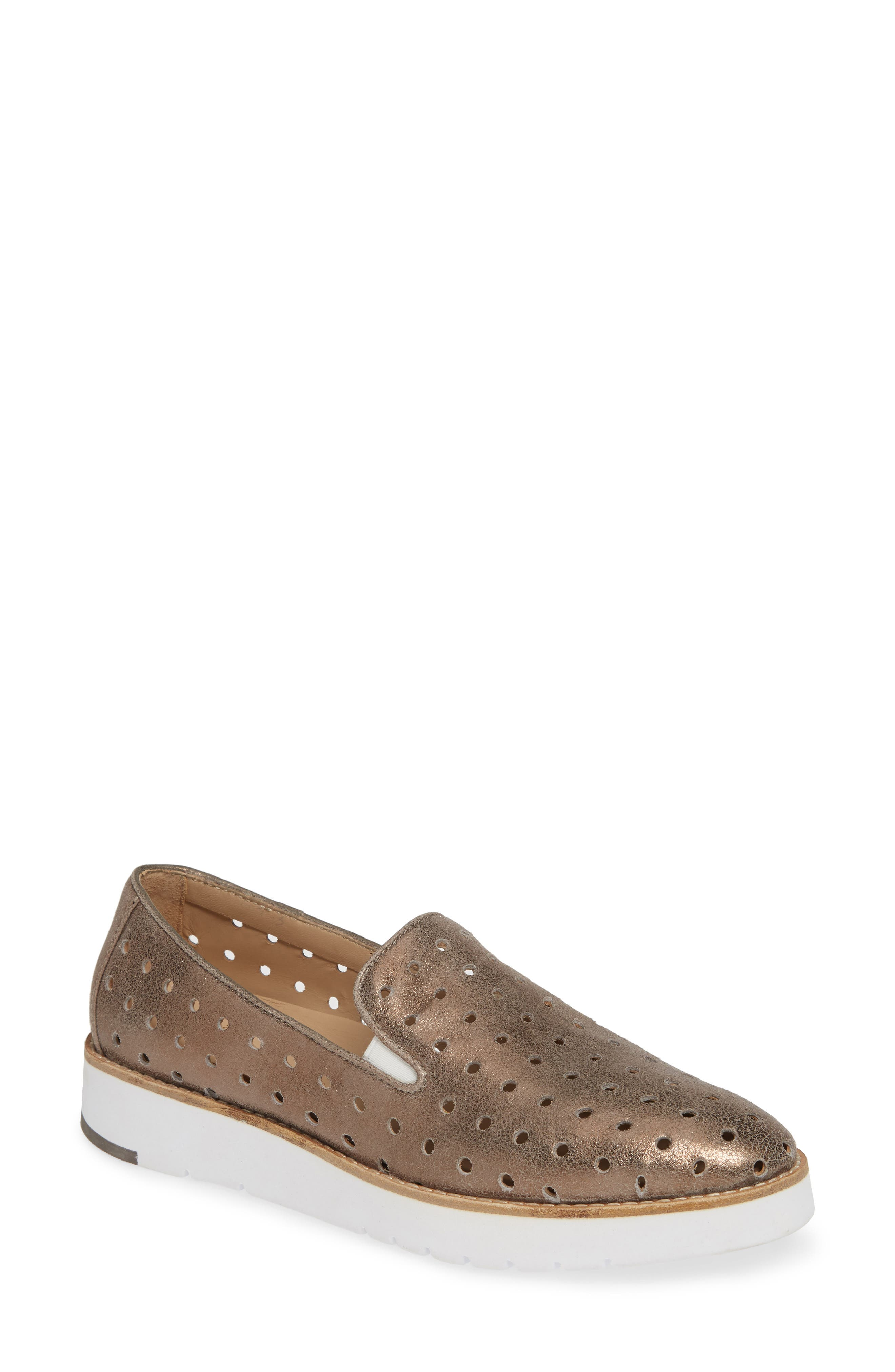 Johnston & Murphy Penelope Perforated Slip-On Sneaker, Grey