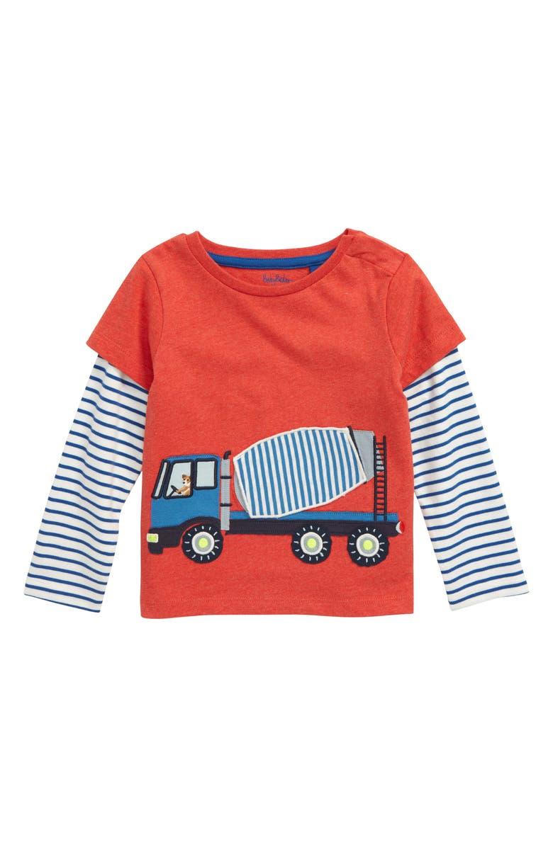 MINI BODEN Vehicle Appliqué Shirt, Main, color, RED POPPADEW/ CEMENT LORRY