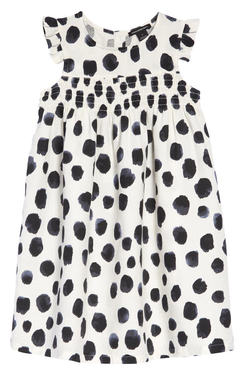 SOMETHING NAVY Animal Print Smocked Dress, Main, color, 900