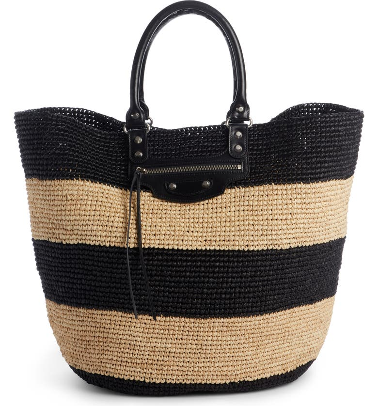 Balenciaga Large Panier Woven Tote With Calfskin Leather